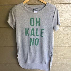 Modern Lux Graphic Kale Split Hem Tee Shirt